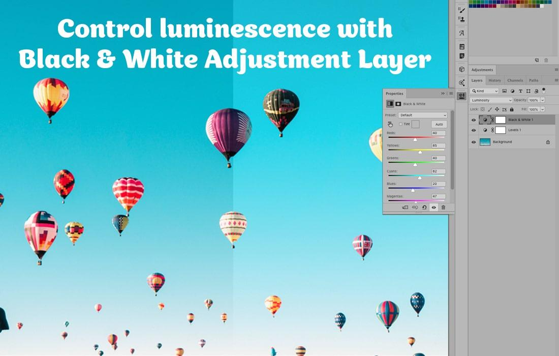 Control luminescence with Black & White Adjustment Layer in Photoshop