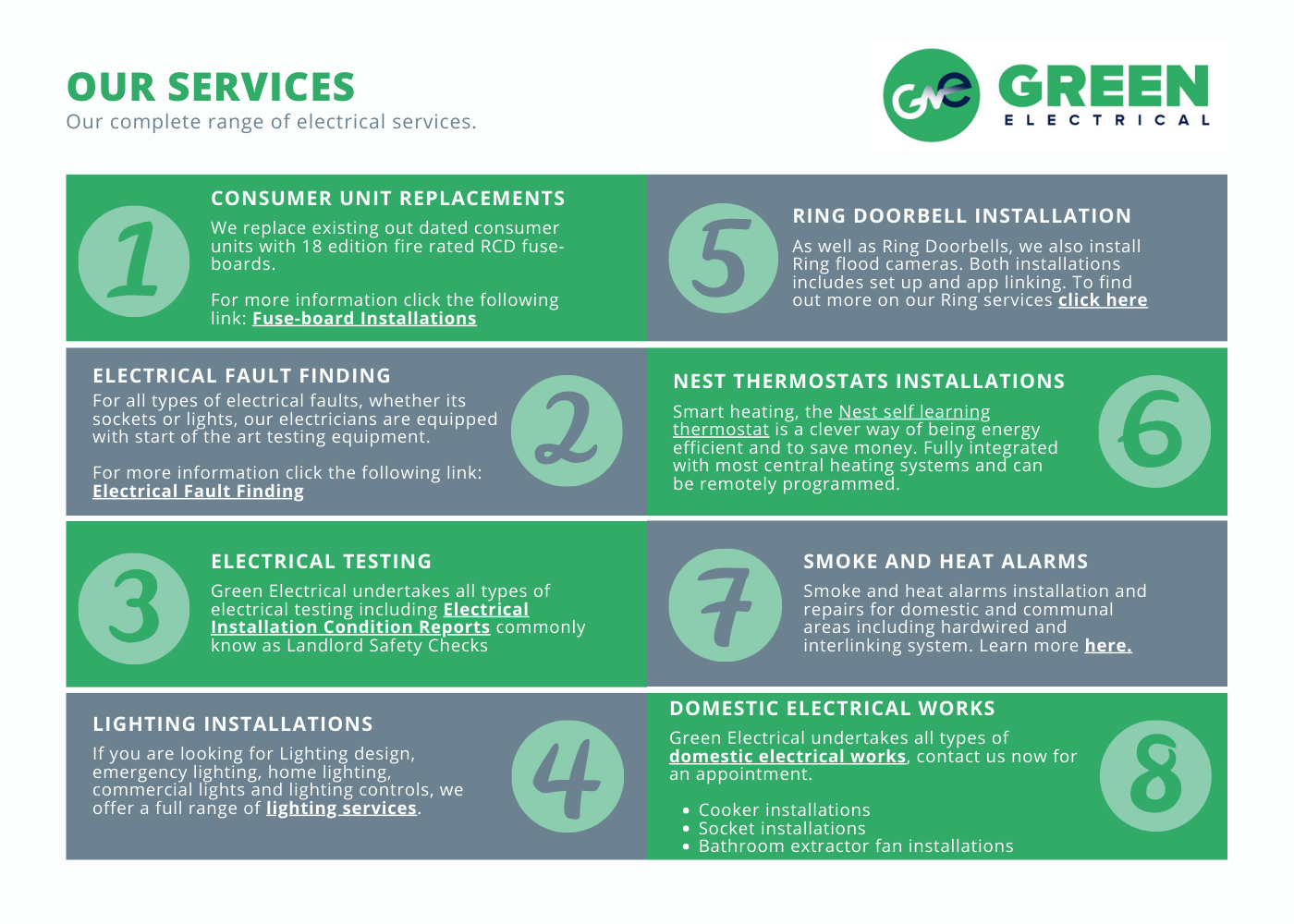 Green Electrical - Our electrical services